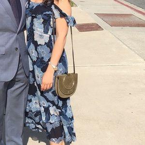 Reformation cold shoulder floral print dress